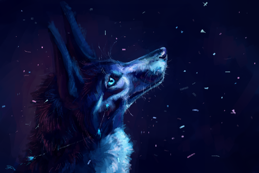 Blue wolf and snow by AlaxendrA