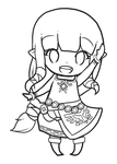 Free to Color: Chibi Skyward Zelda by Zel-Duh