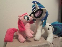 Dj Pon3 and pinkie pie filly Plush by Little-Broy-Peep