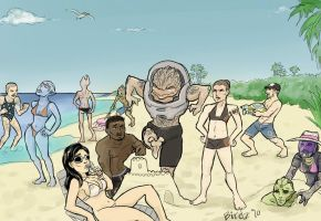 Mass Effect Crew on vacation by Birdz