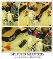 my super messy bed by chichiawawaw