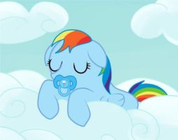 babby rainbow dash by Dunkinbean