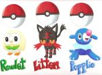 PokemonSunMoon: Starters by GothNebula