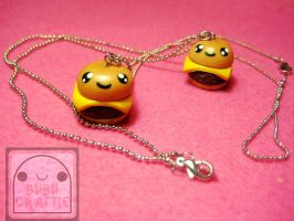 Smiling Cheeseburger Necklaces by efeeha