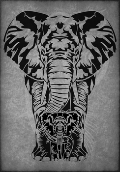 Elephant Matriarch Tribal Tattoo by Amoebafire