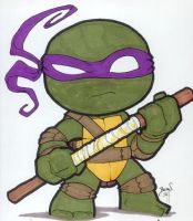 Chibi-Donatello. by hedbonstudios