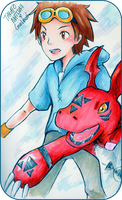 Digimon Tamers: Takato and Guilmon by Sennel