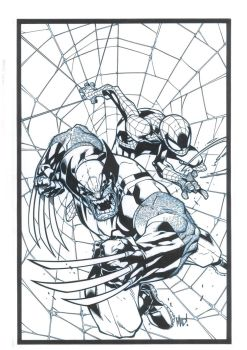 Wolvie and Spidey by JonnydelaFuente