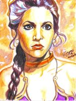 slave leia sketch card by bulma24