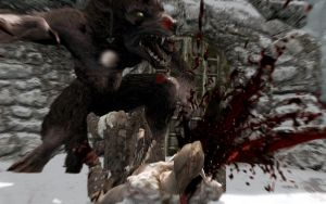 Skyrim Screenshots- Werewolf Deathblow 3 by vincent-is-mine