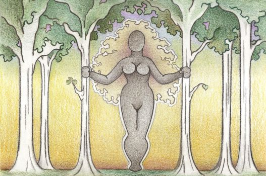Wild Woman among the Trees by Spiralpathdesigns