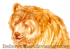 Commission: Coffee painting Bear by EmberWolfsArt