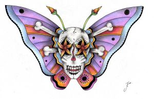 death head moth in colour by Josie50000
