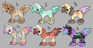 6 fluffy adoptables OPEN by A-Blue-Fire
