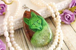 Green fox, crystal spirit - handmade painted stone by LunarFerns