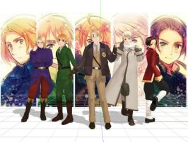 Hetalia MMD Models - The Allies by midnightsong22