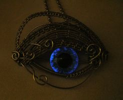 Pewter Blue Silver Glow In the Dark Eye 1 by LadyPirotessa
