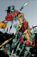 Hellboy vs Goblins Colored by cwalton73