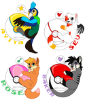 Pokeball badges - commission batch#1 by TrelDaWolf