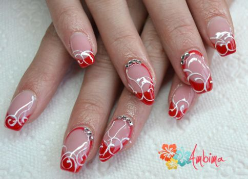 Red gel nails by Ambima