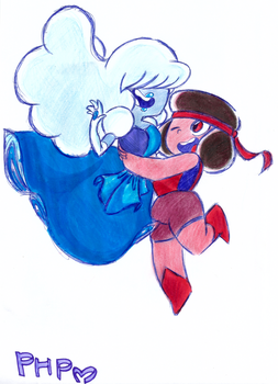 Ruby and Sapphire by PurpleHurricanePony