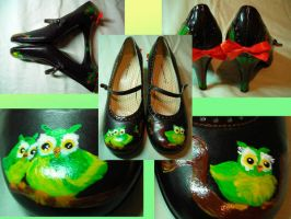 Hoot Hoot To You Mary Janes by SupremeBeingDesigns