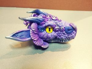 Purple Dragon Head  Pendant by AstridMakosla