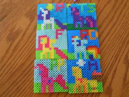 Perler Pony Mane Six! by BerryPunchrules