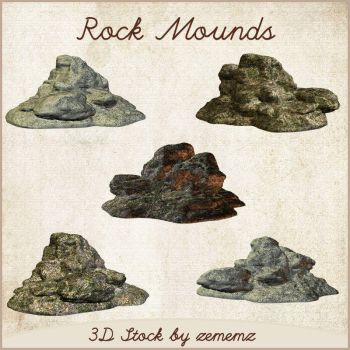 3D Rock Mounds by zememz