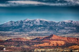 Red Rock and Mountains HDR by mjohanson