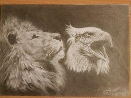 Lion and eagle by Moddiz