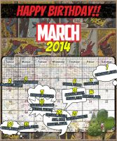 Birthday Calendar Wallpaper - Marvel Comic Theme by chriz09