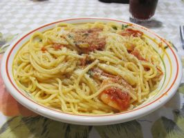 Spaghetti with Shrimp and Fresh Tomato Sauce by DragonoftheEastblue