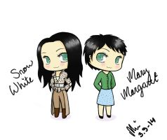 Once Upon a Time Chibified: Snow and Mary Margaret by NurseRozetta95