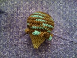 giant amigurumi mint chocolate ice cream cone by lovechairmanmeow