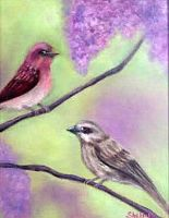 Purple Lilacs And Finches by shellanime