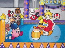 Throwdown in Dreamland - Kirby and King Dedede by Isuckworse