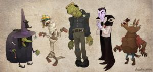 Classic Halloween Monster Line-Up by WonderDookie