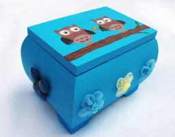 Cute Owls OOAK handpainted wooden trinket box by DeadLulu