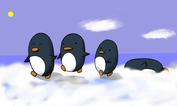 Marching penguins by Sheepguin