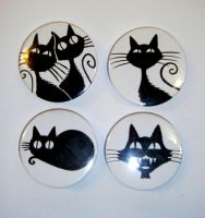 Midnight Cats - badges by Finnish-Penguin