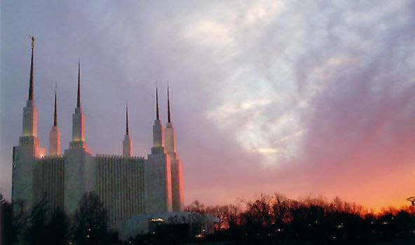 Washington DC Temple Sunset by skoticus