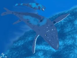 Mother and Baby Mosasaur  by Midiaou