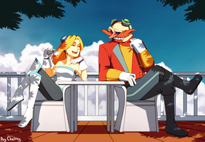 Maria and Eggman. by Cheroy