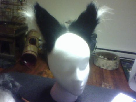 Furry Black-White Fox Ears by scars-cry-blood