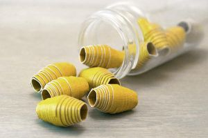 Simple Chartreuse Handmade Paper Beads by OneUrbanTribe