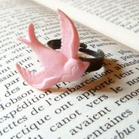 Pink Swallow Ring by CherryRedCheeks