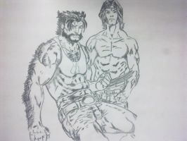 Wolverine and Gambit by Thecrcker
