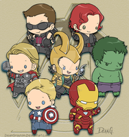 Avengers chibies by DeanGrayson