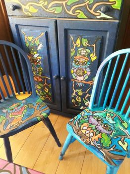 owl painted furniture by pretbekkie
